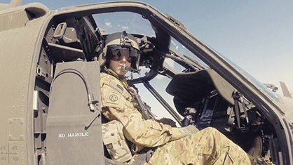 Military Veteran in Helicopter
