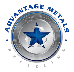 Advantage Metals Recycling gray and blue logo